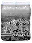 Living The Dream.nice.france.bw Duvet Cover