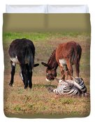Lmao  Mules And Zebra - Featured In Wildlife Group Duvet Cover