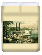 Loading Cotton On The Mississippi, 1870 Colour Litho Duvet Cover