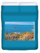 Lobster Boat Checking Traps In Louisbourg Bay-ns Duvet Cover