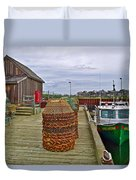 Lobster Fishing Baskets And Boats By A Dock In Forillon Np-qc Duvet Cover