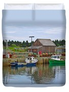Lobster Fishing Baskets And Boats In Forillon Np-qc Duvet Cover
