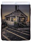 Lobster Landing Shack Restaurant At Sunset Duvet Cover