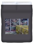 Lobster Traps And Ropes Duvet Cover by Stuart Litoff