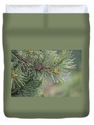 Lodge Pole Pine In The Fog Duvet Cover