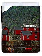 Lofoten Fishing Huts 2 Duvet Cover by Steve Harrington