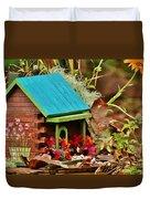 Log Cabin Birdhouse In Fall Duvet Cover