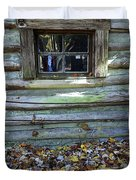 Log Cabin Window And Fall Leaves Duvet Cover