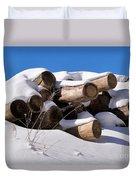 Log Pile In A Snow Drift In Winter Duvet Cover