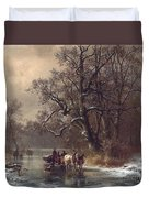 Loggers On A Frozen Waterway Duvet Cover