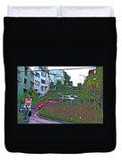 Lombard Street In San Francisco-california  Duvet Cover