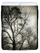 London Eye Through Snowy Trees Duvet Cover