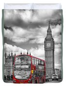 London - Houses Of Parliament And Red Bus Duvet Cover