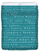 London In Words Teal Duvet Cover