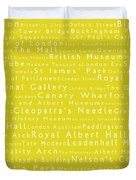 London In Words Yellow Duvet Cover