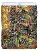 London Map Brown Duvet Cover