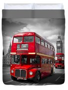 London Red Buses On Westminster Bridge Duvet Cover by Melanie Viola