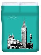 London Skyline Big Ben - Teal Duvet Cover