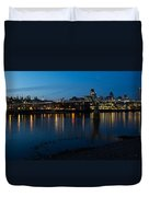 London Skyline Reflecting In The Thames River At Night Duvet Cover