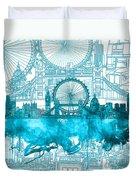 London Skyline Vintage Blue 2 Duvet Cover