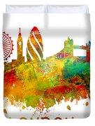 London Skyline Watercolor Duvet Cover