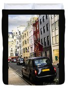 London Taxi On Shopping Street Duvet Cover by Elena Elisseeva