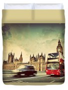 London The Uk Red Bus Taxi Cab In Motion And Big Ben Duvet Cover