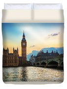 London Uk Big Ben The Palace Of Westminster At Sunset Duvet Cover