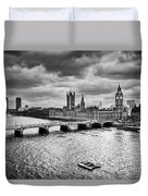London Uk Big Ben The Palace Of Westminster In Black And White Duvet Cover