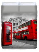 London Uk Red Phone Booth And Red Bus In Motion Duvet Cover