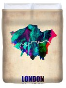 London Watercolor Map 2 Duvet Cover by Naxart Studio