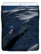 Lone Alpinist Silhouetted On Heavily Duvet Cover
