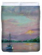 Lone Boat At Sunset Duvet Cover