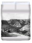 Lone Car In Fish Creek Canyon Duvet Cover