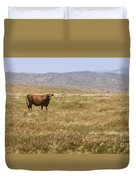 Lone Cow In Grassy Field Duvet Cover