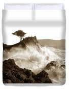 Lone Cypress Tree On  Midway Point Pebble Beach California Circa 1916 Duvet Cover