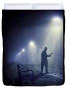 Lone Gunman In Fog At Night Duvet Cover