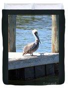 Lone Pelican On Pier Duvet Cover