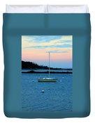 Lone Sailboat At York Maine Duvet Cover