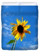 Lone Sunflower In A Summer Blue Sky Duvet Cover