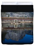 Lone Tourist And  Yosemite Falls Reflection Duvet Cover