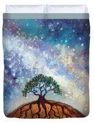 Lone Tree And Milky Way Duvet Cover