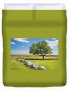 Lone Tree With Blue Sky In Blueberry Field Maine Duvet Cover