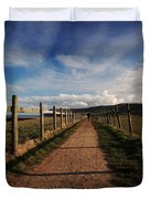 Lone Walker On The North Yorkshire Coastal Path Duvet Cover