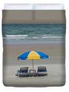 Lonely Beach Chairs Duvet Cover