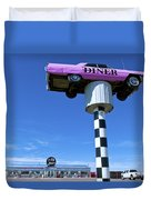 Lonely Diner With Pink Cadillac Duvet Cover