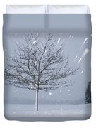 Lonely Tree In Snow Bavaria Duvet Cover