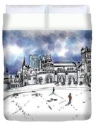 Lonely Winter Campus Duvet Cover