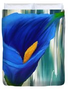 Lonesome And Blue- Blue Calla Lily Paintings Duvet Cover