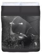 Long Beach Ca Aerial Bw Duvet Cover